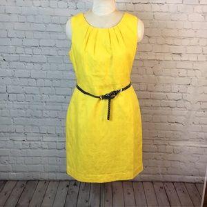 Worthington yellow sheath dress w belt